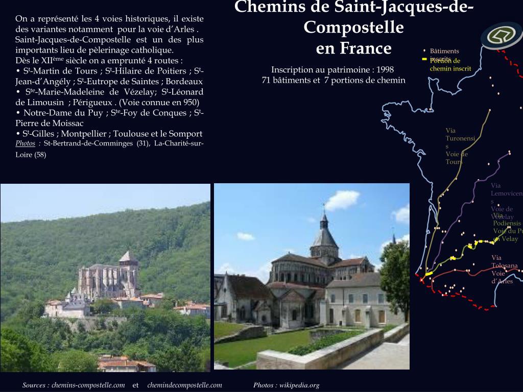 On a représenté les 4 voies historiques, il existe des variantes notamment  pour la voie d'Arles .