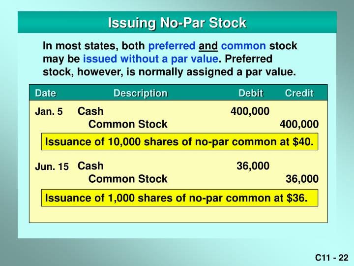 Issuing No-Par Stock