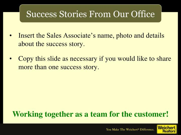 Insert the Sales Associate's name, photo and details about the success story.