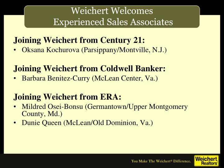 Joining Weichert from Century 21: