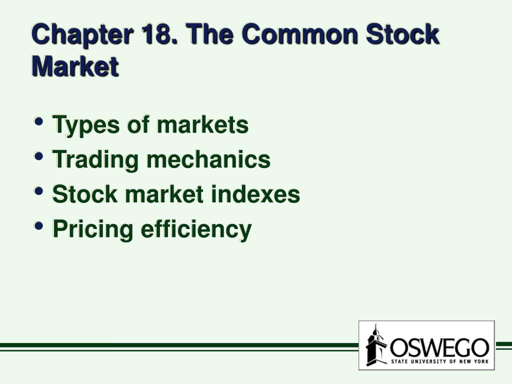chapter 18 the common stock market l.