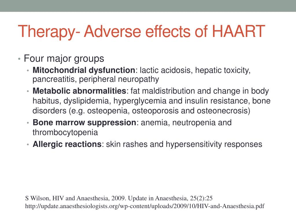 Therapy- Adverse effects of HAART
