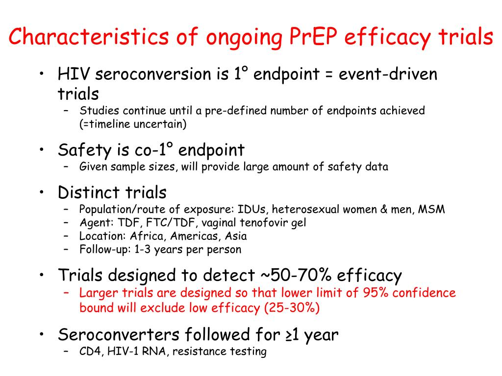 Characteristics of ongoing PrEP efficacy trials