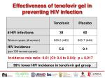 effectiveness of tenofovir gel in preventing hiv infection