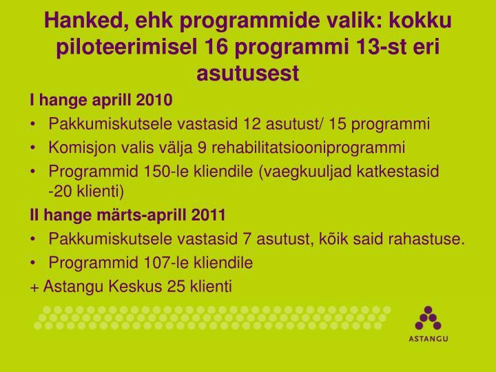 Hanked, ehk programmide valik: kokku piloteerimisel 16 programmi 13-st eri asutusest