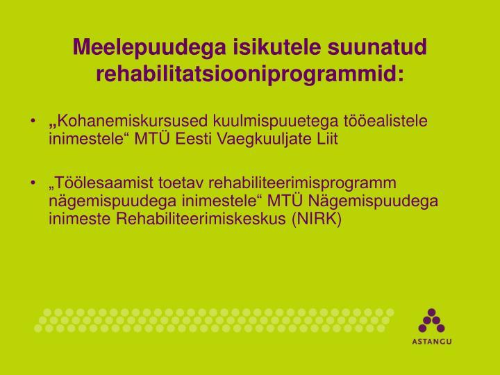 Meelepuudega isikutele suunatud rehabilitatsiooniprogrammid: