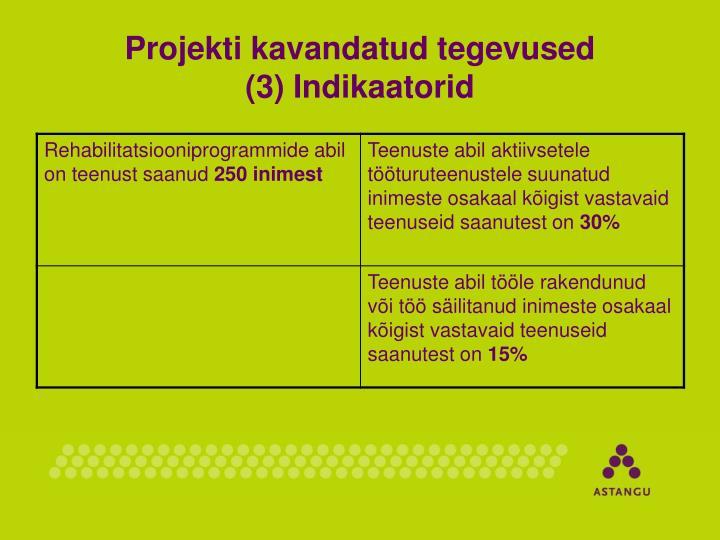 Projekti kavandatud tegevused