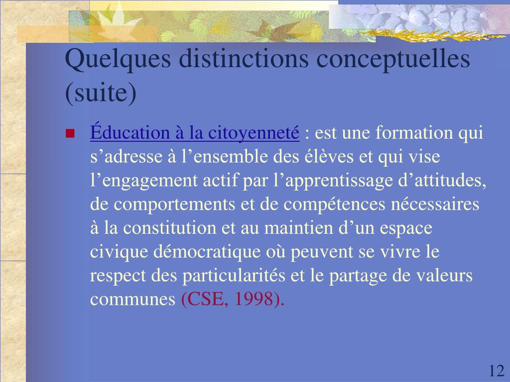 Quelques distinctions conceptuelles (suite)
