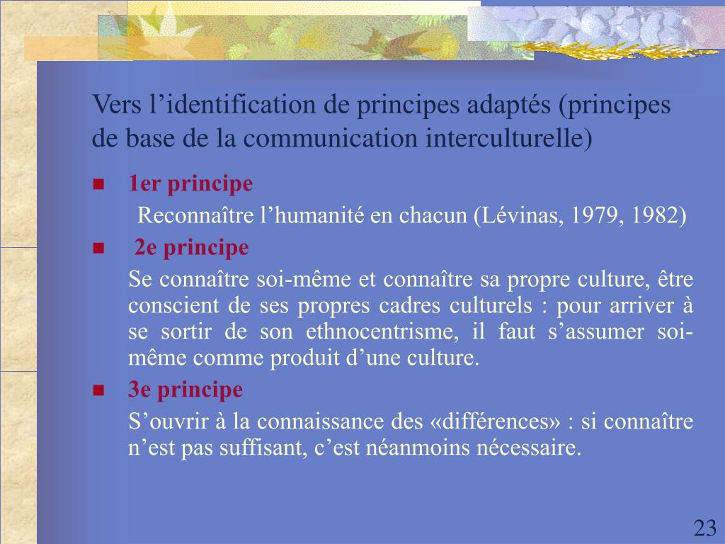 Vers l'identification de principes adaptés (principes de base de la communication interculturelle)