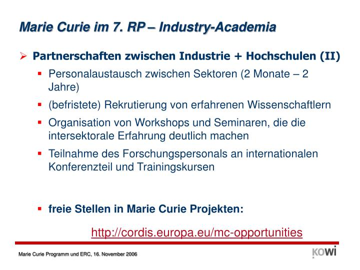 Marie Curie im 7. RP – Industry-Academia