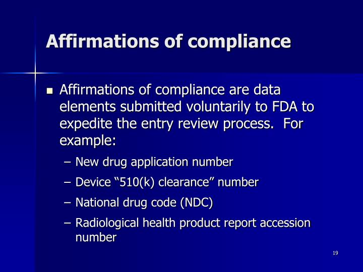 Affirmations of compliance