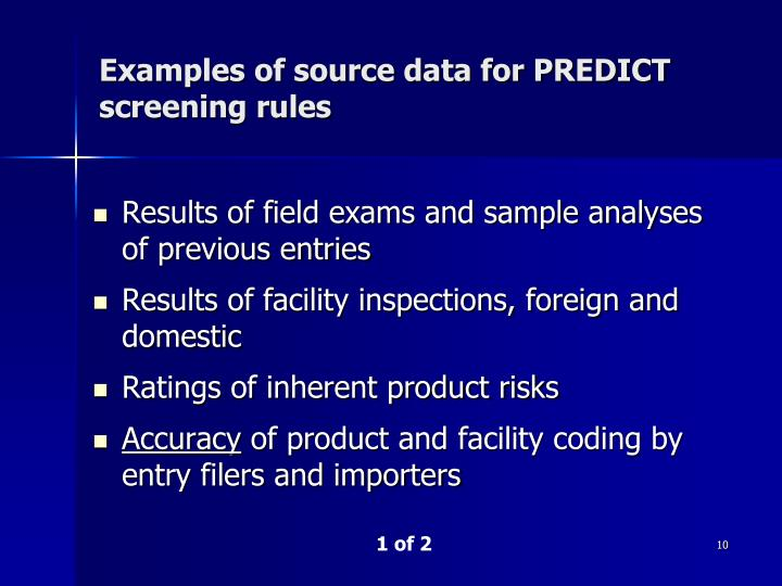 Examples of source data for PREDICT screening rules