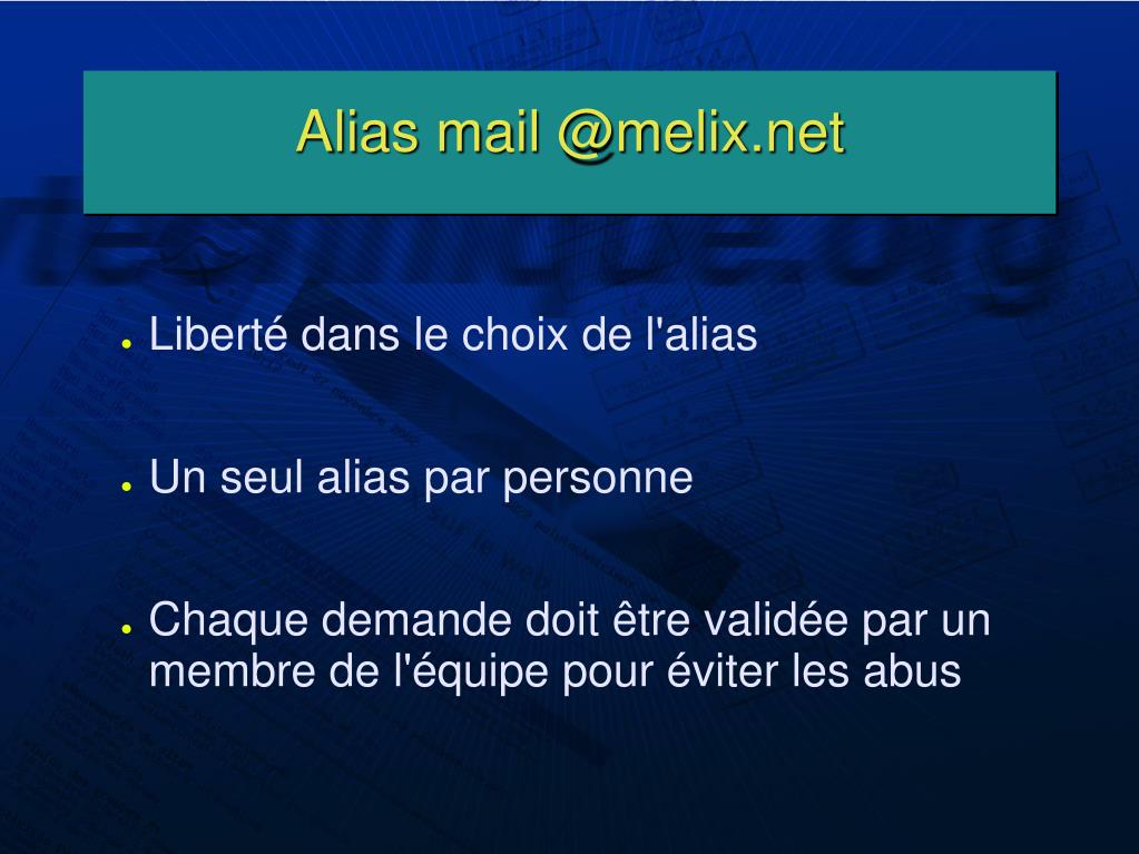Alias mail @melix.net