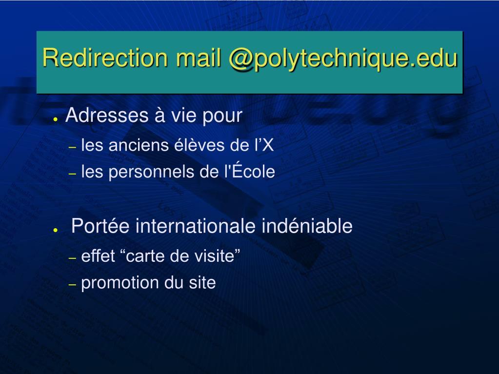 Redirection mail @polytechnique.edu
