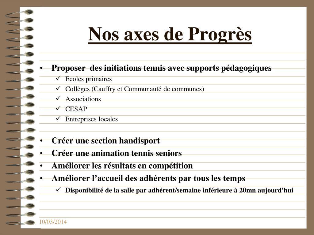 Nos axes de Progrès