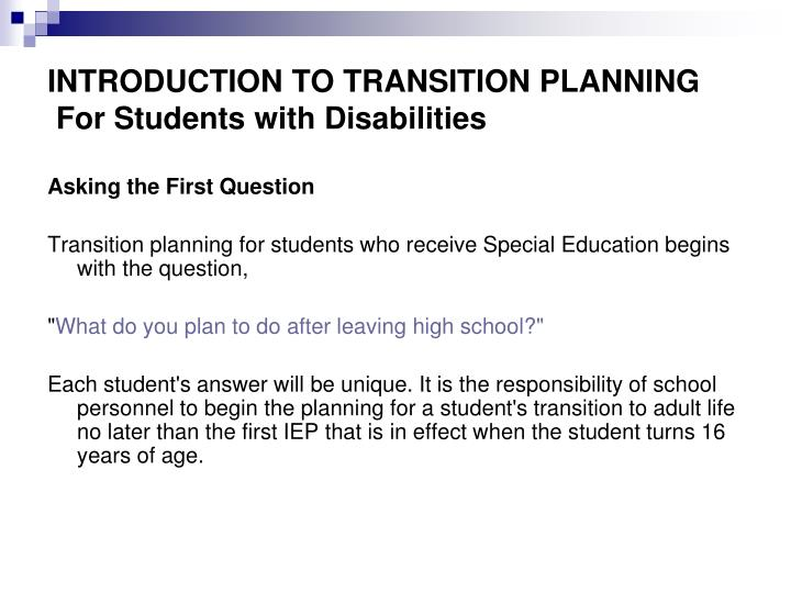 transition in students with disabilities essay