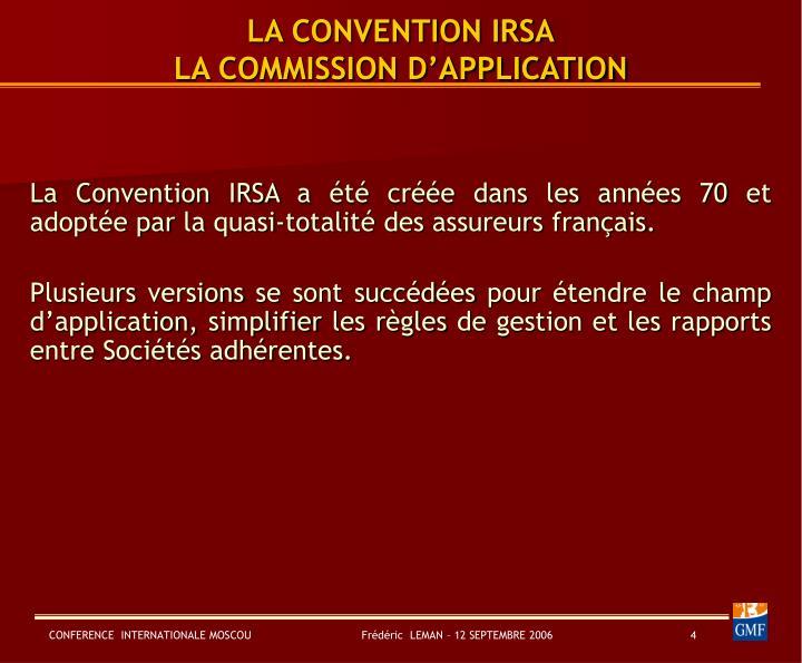 convention irsa