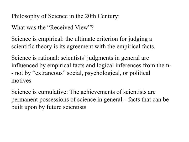Philosophy of Science in the 20th Century: