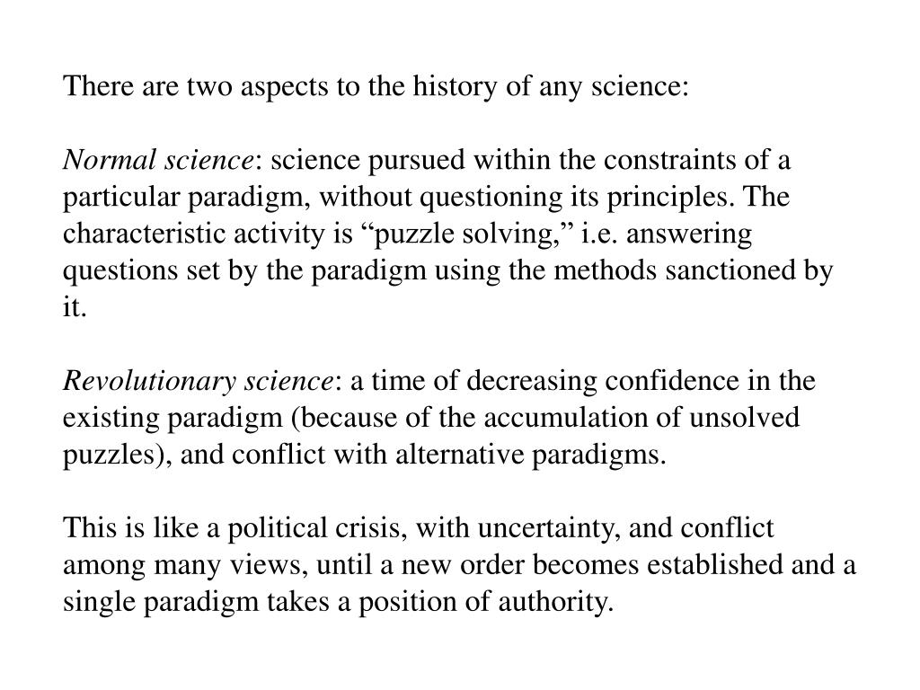 There are two aspects to the history of any science: