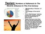 taoism numbers of adherents in the world influence in the 21st century