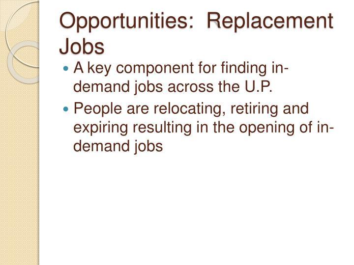 Opportunities:  Replacement Jobs