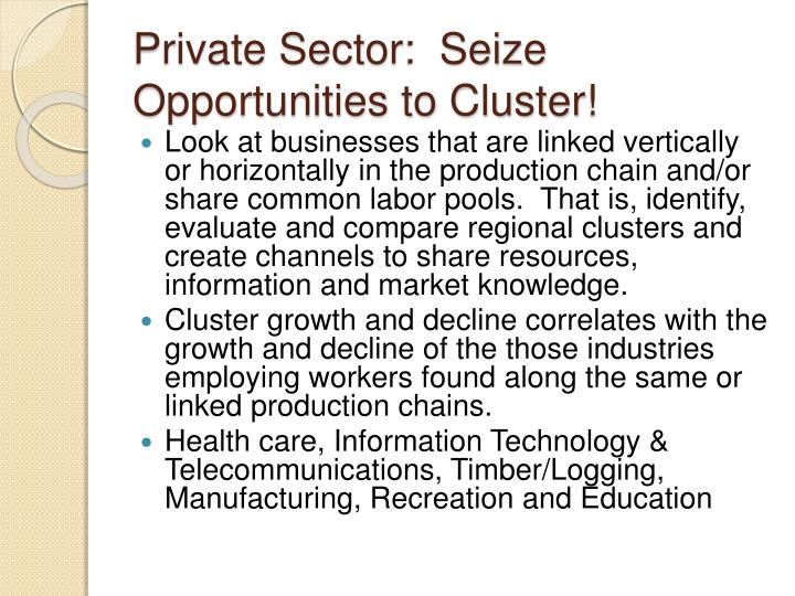 Private Sector:  Seize Opportunities to Cluster!