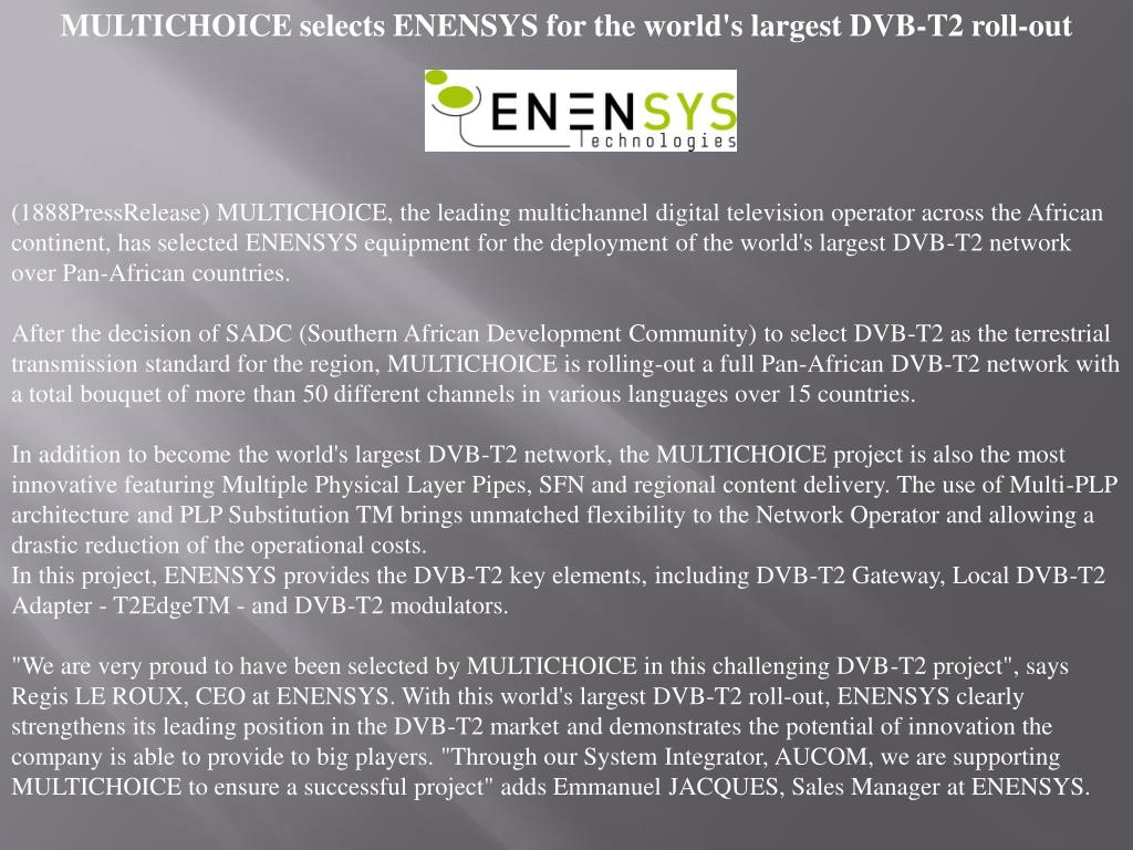 MULTICHOICE selects ENENSYS for the world's largest DVB-T2 roll-out