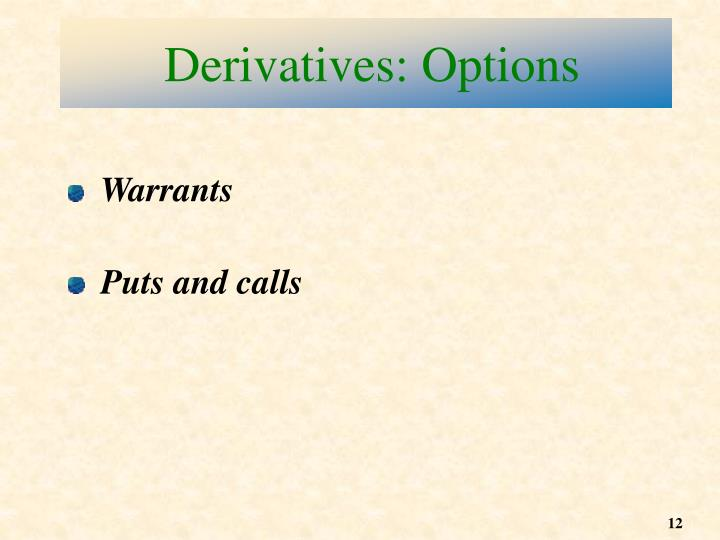 Derivatives: Options