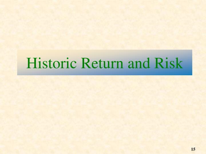 Historic Return and Risk