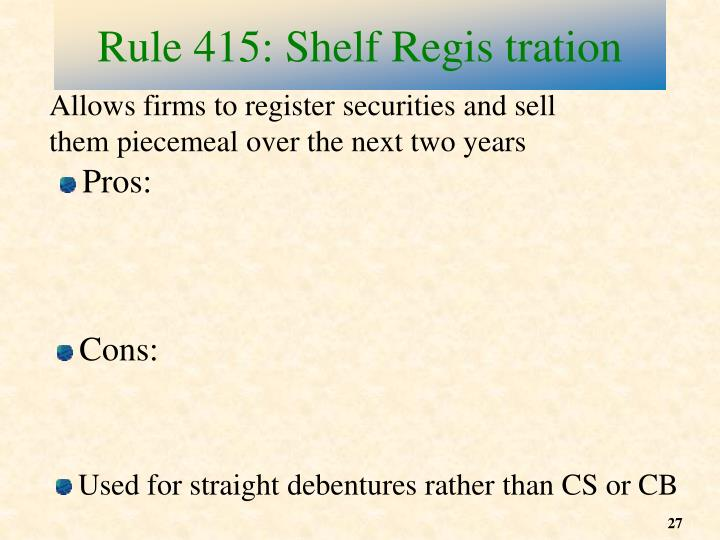 Allows firms to register securities and sell them piecemeal over the next two years