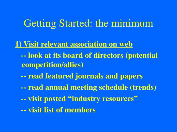 Getting Started: the minimum
