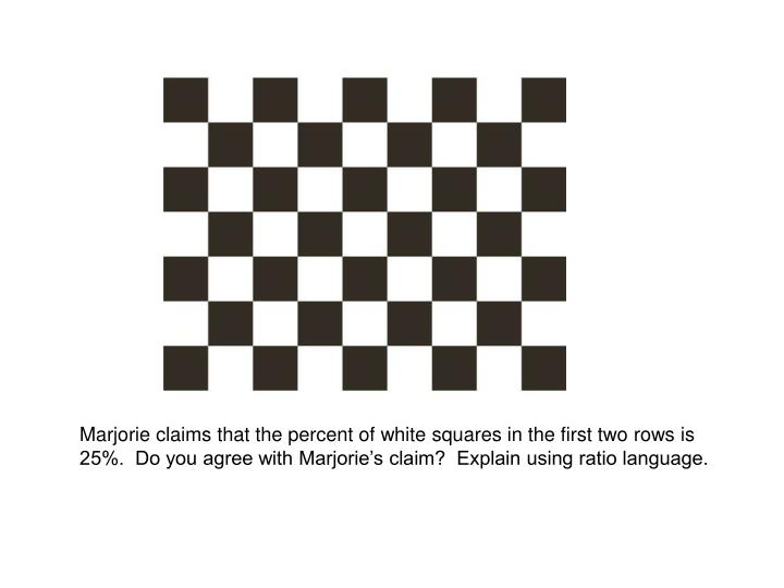Marjorie claims that the percent of white squares in the first two rows is 25%.  Do you agree with Marjorie's claim?  Explain using ratio language.