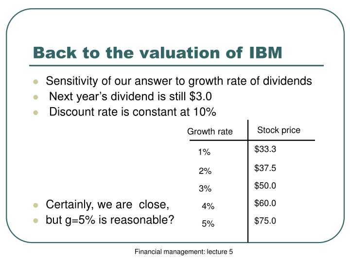 Back to the valuation of IBM