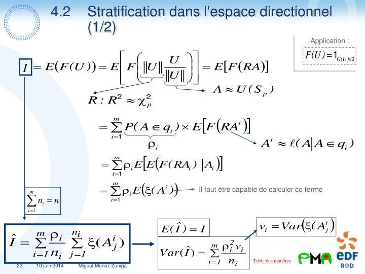 4.2Stratification dans l'espace directionnel (1/2)