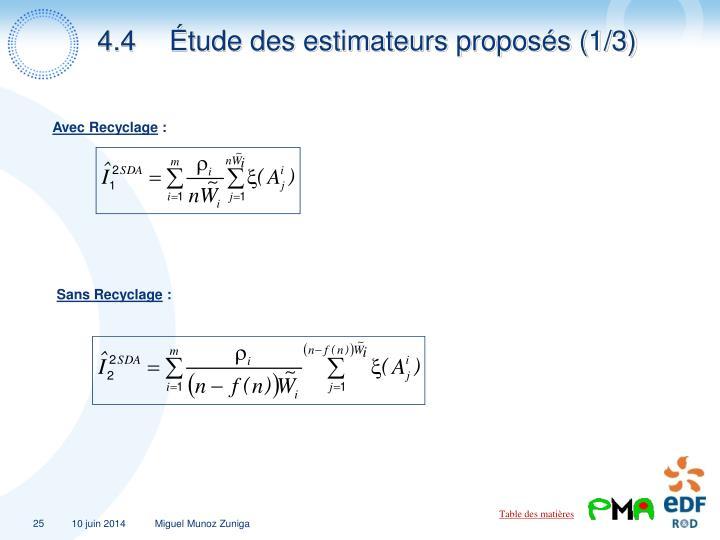 4.4Étude des estimateurs proposés (1/3)