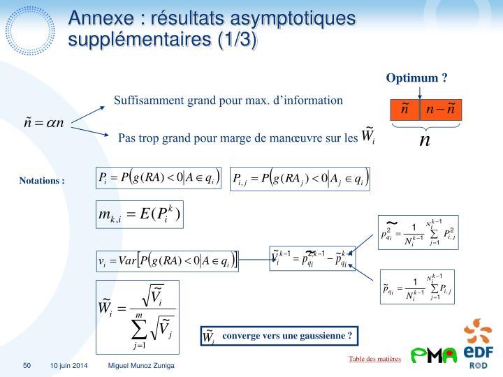 Annexe : résultats asymptotiques supplémentaires (1/3)