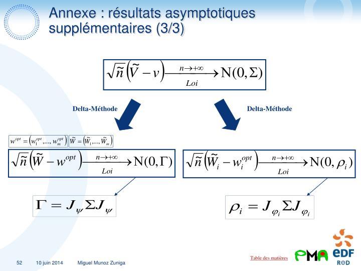 Annexe : résultats asymptotiques supplémentaires (3/3)