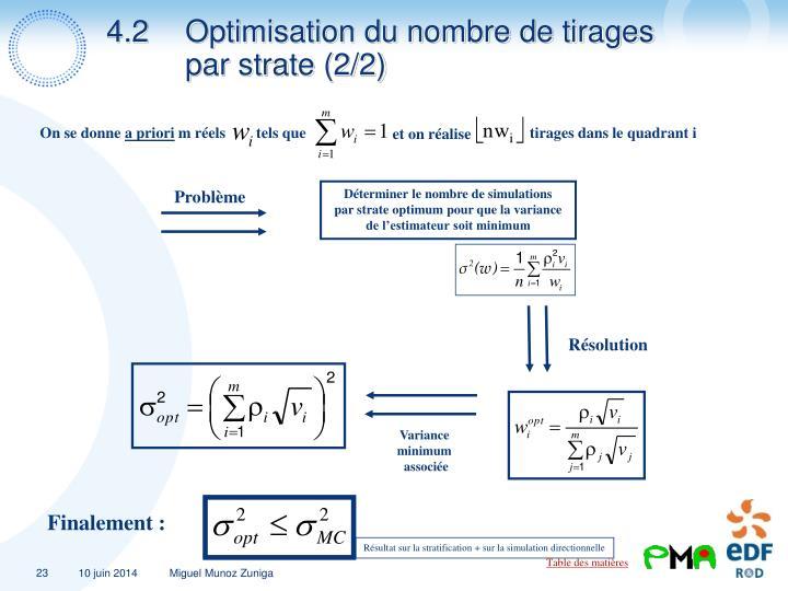 4.2Optimisation du nombre de tirages par strate (2/2)
