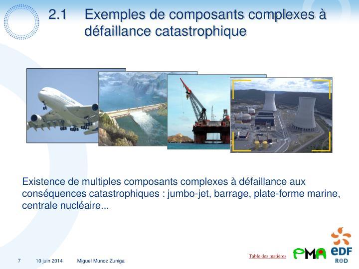 2.1Exemples de composants complexes à défaillance catastrophique