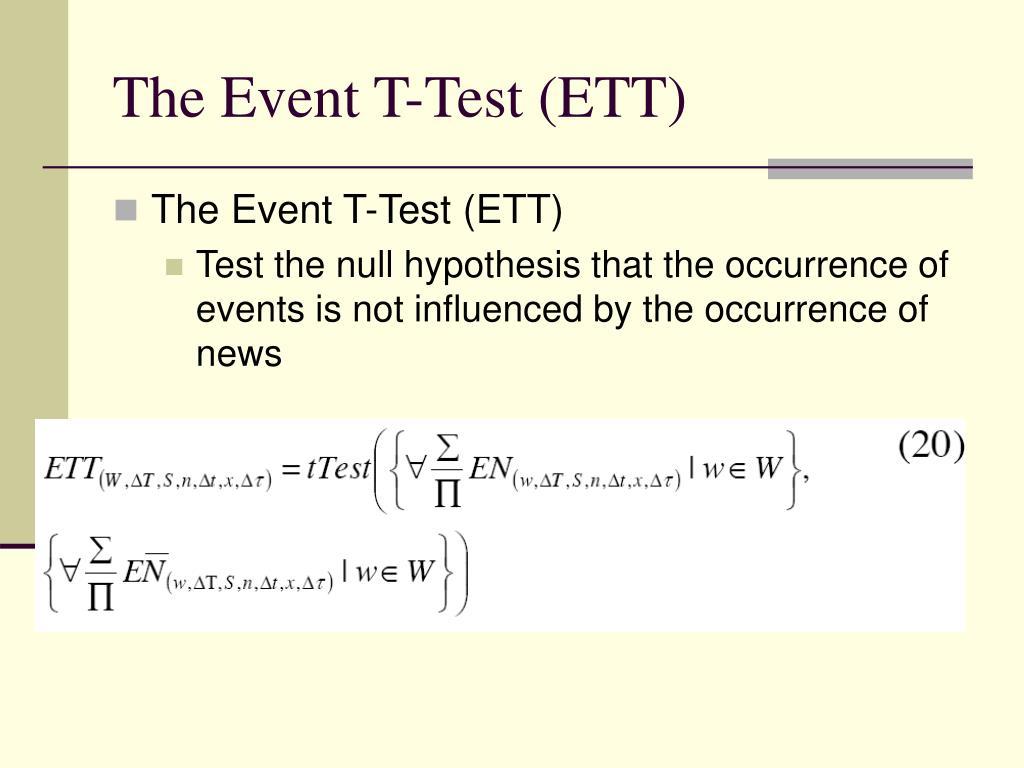 The Event T-Test (ETT)