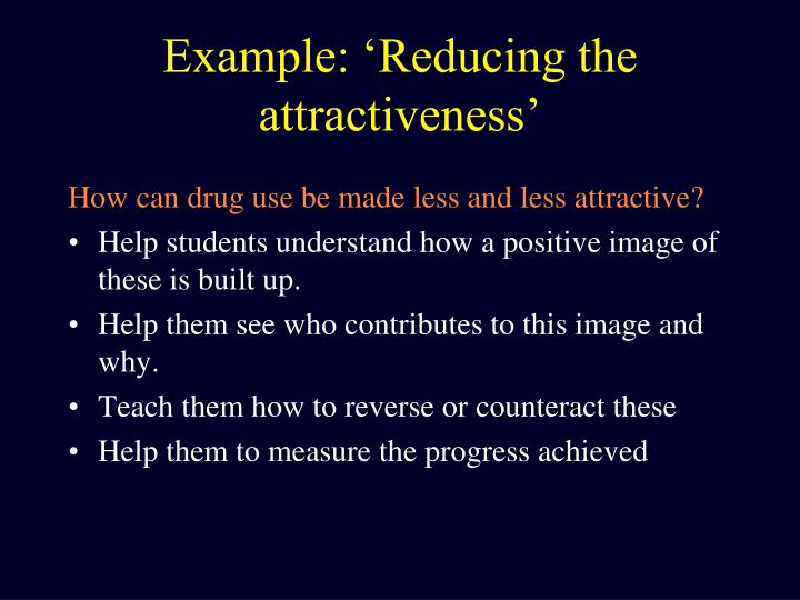 Example: 'Reducing the attractiveness'
