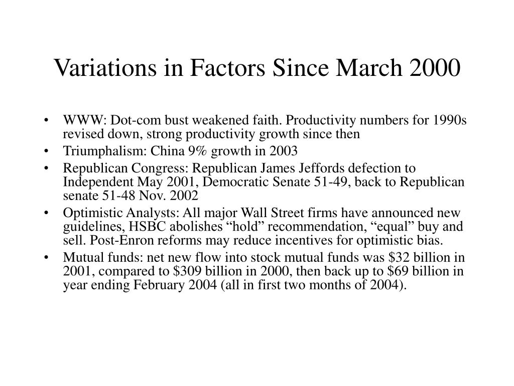 Variations in Factors Since March 2000