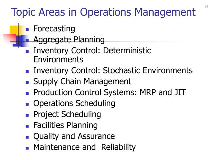 Topic Areas in Operations Management