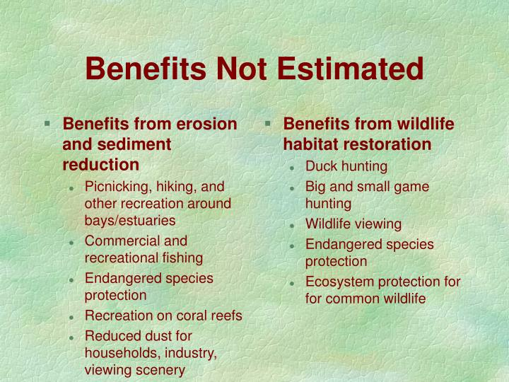 Benefits from erosion and sediment reduction