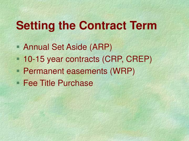 Setting the Contract Term