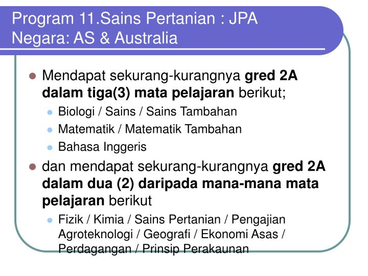 Program 11.Sains Pertanian : JPA