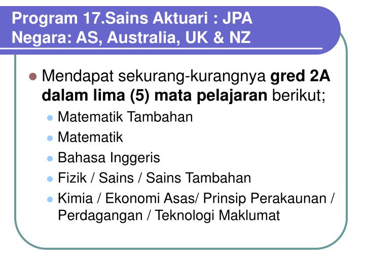 Program 17.Sains Aktuari : JPA