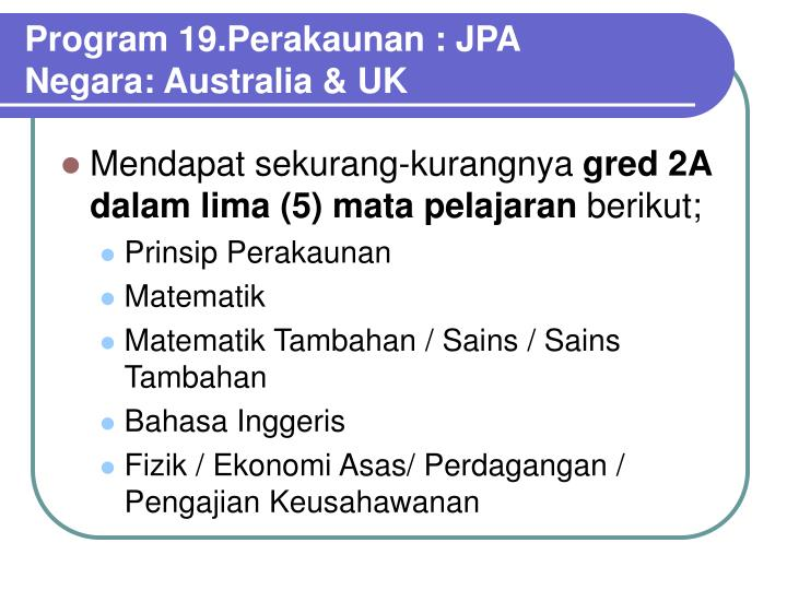 Program 19.Perakaunan : JPA