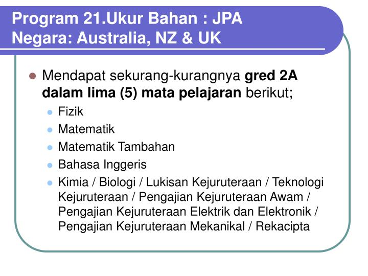 Program 21.Ukur Bahan : JPA