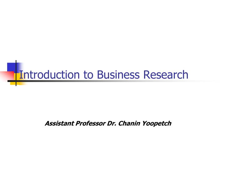 introduction to business research n.
